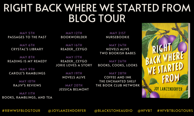 #BLOGTOUR   Right Back Where We Started From – Joy Lanzendorfer @JoyLanzendorfer@BlackstoneAudio@hfvb #RighBackWhereWeStartedFrom #JoyLanzendorfer #HFVBTBlogTours #amreading #bookreview#giveaway