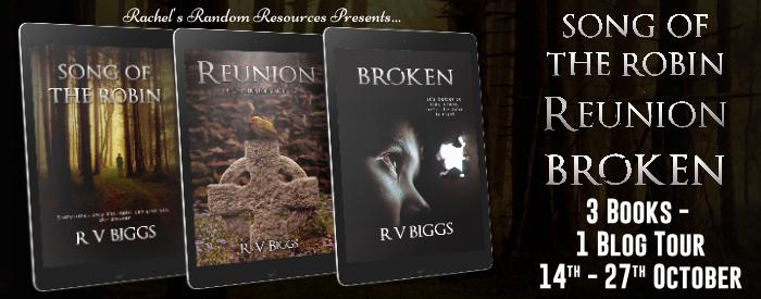 #BLOGTOUR (3 #Books)| Song of the Robin, Reunion, & Broken – R V Biggs @rararesources @gilbster1000 #amreading#bookreviews